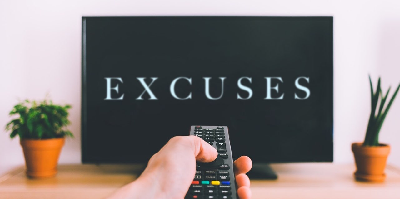 Excuses text on TV